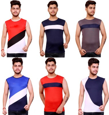 Celebrino Color Block Men Round Neck Multicolor T-Shirt(Pack of 6)
