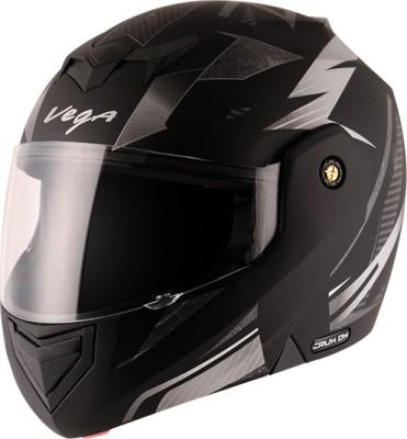 VEGA crux dx drift Motorbike Helmet(dull black silver)