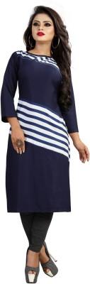 KROOZ Women Striped Straight Kurta(Blue)