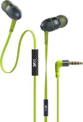 boAt BassHeads 220 Super Extra Bass Wired Headset(Neon Lime, In the Ear)