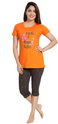 Attempt Women Printed Orange Top & Pyjama Set