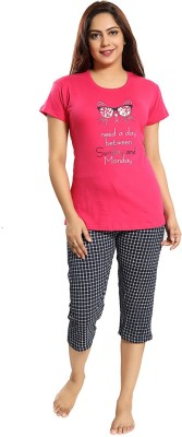 Attempt Women Printed Pink Top & Pyjama Set