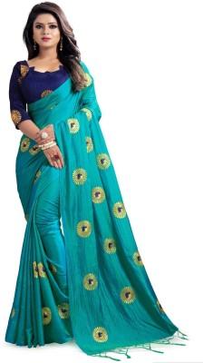 Kuvarbafashion Embroidered Fashion Poly Silk Saree(Light Blue)