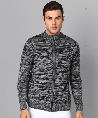 Metronaut Self Design High Neck Casual Men Dark Blue, Grey Sweater