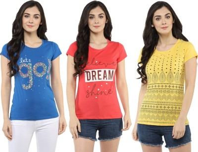 MODEVE Graphic Print Women Round Neck Blue, Pink, Yellow T-Shirt(Pack of 3)