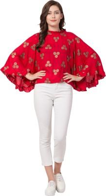 FLYME Casual Kimono Sleeve Polka Print Women Red Top