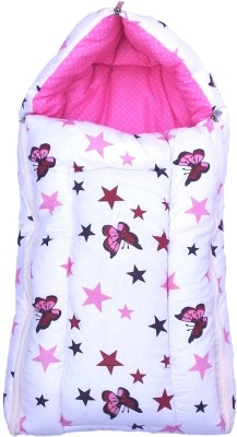 Fabrify Fabrify 3 in 1 multi-usage baby cotton bed cum sleeping bag, carry bag, safety bag, baby wrapper, baby carrier, nest bag (Pink) Bunting Bag(Pink, White)