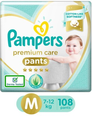 Pampers Premium Care Pants Diapers Monthly Box Pack - M(108 Pieces)