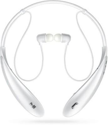 KLUZIE HBS 800 Neckband Headphones Wireless Sport Stereo Hands-Free Bluetooth Headset(White, Wireless in the ear)