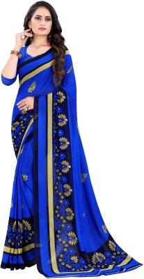 Leelavati Printed Daily Wear Poly Georgette Saree(Blue)