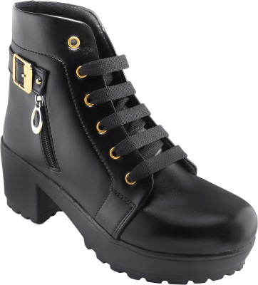 Dicy Leather Design Stylish Look Boots Shoes Boots For Women(Black)