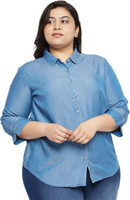 aLL Casual Full Sleeve Solid Women Blue Top