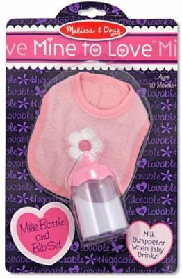 MELISSA   DOUG Milk Bottle and Bib Set Pink MELISSA   DOUG Doll Accessories