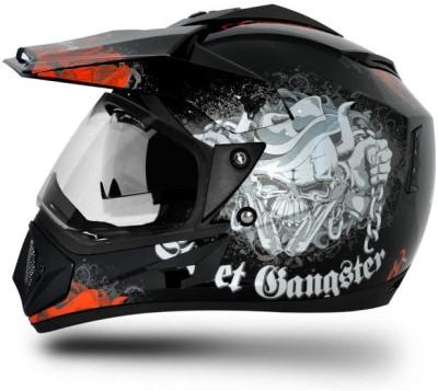VEGA Off Road D/V Gangster Motorbike Helmet(Black Orange)