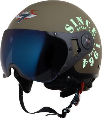 Steelbird SB-27 7Wings Tank Open Face Graphic Helmet in Matt Desert Storm/Military Green Motorbike Helmet(Khaki)