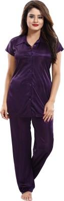 SIDWA Women Solid Purple Night Suit Set