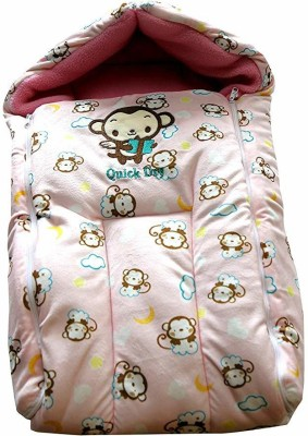 Quick Dry 3 in 1 Sleeping Bag Baby Bed/Carry Bag/Baby Wrapper (0-6 Months) Sleeping Bag(Pink)