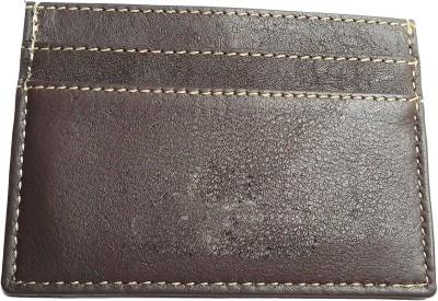 NUKAICHAU Men Brown Genuine Leather Card Holder 6 Card Slots