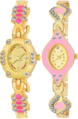 Heeva HV-963-959 New Rich Look 143 Girls Golden Diamond Studded Analog Watch - For Women Analog Watch  - For Women