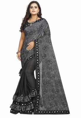 supalee tex Self Design Fashion Lycra Blend Saree(Black, Grey)