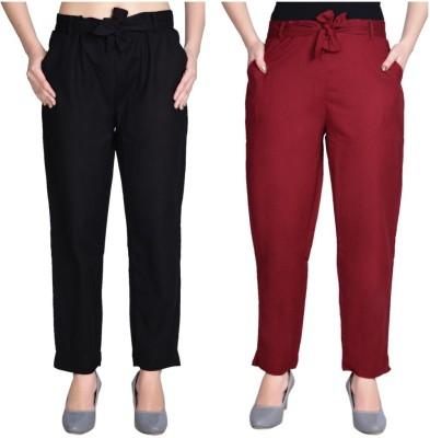 Aawari Regular Fit Women Maroon, Black Trousers