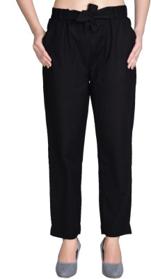 3SIX5 Regular Fit Women Black Trousers
