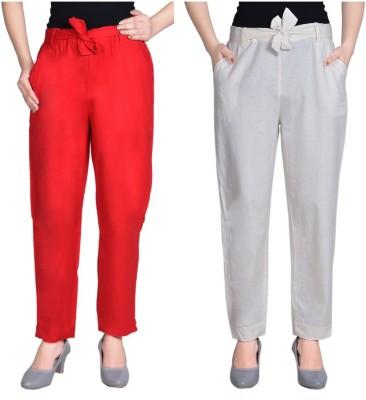 Aawari Regular Fit Women Red, White Trousers