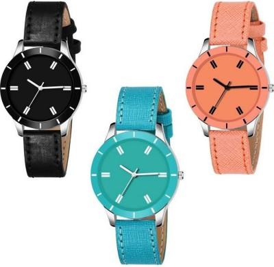 Tmeter Set Of 3 Combo Stylish Black Sky Blue And Orange Watch For Women Analog Analog Watch  - For Girls