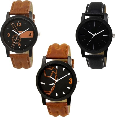 Paul jordan 145-Most Selling 3 Pice Color Fool Combo Analog Watch For-Men Analog Watch  - For Men