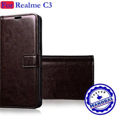 Manobal Flip Cover for Realme C3 - Exotic Coffee Brown(Brown, Dual Protection)