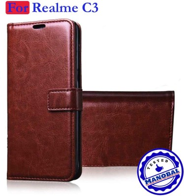 Manobal Flip Cover for Realme C3 - Exotic Cherry Brown(Brown, Dual Protection)