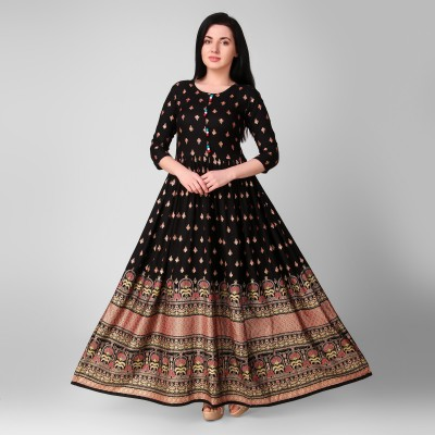 Purshottam Wala Women Printed Anarkali Kurta(Black)