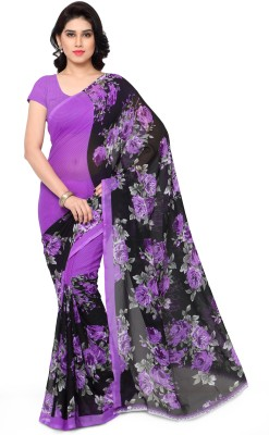 Anand Sarees Floral Print Daily Wear Georgette Saree(Black)