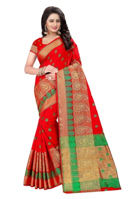 Cartyshop Woven Kanjivaram Cotton Blend, Art Silk Saree(Red)