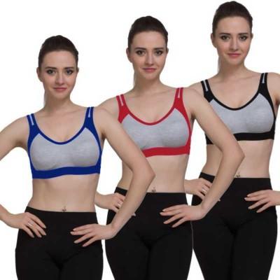 YOUR SHOPPING STORE Women, Girls Sports Non Padded Bra(Red, Black, Blue)