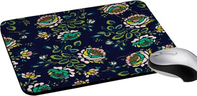 RADANYA Floral Printed Rectangular Mouse Pads for Desktop and Laptop Computers 8Inch(Navy Blue) Mousepad(Navy Blue)