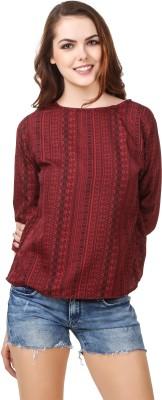 Casual Regular Sleeve Printed Women Maroon Top