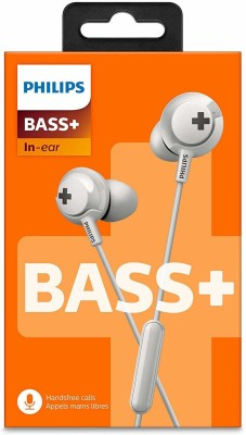 Philips SHE4305WT/27 Bass+ Earphone with Mic Headphone Wired Headset(White, In the Ear)