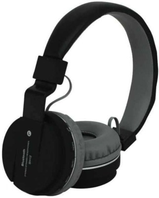 KLUZIE Deep Rich Bass Stereo Sound SH-12 Headphone With FM Bluetooth Headset(Black, Wireless over the head)