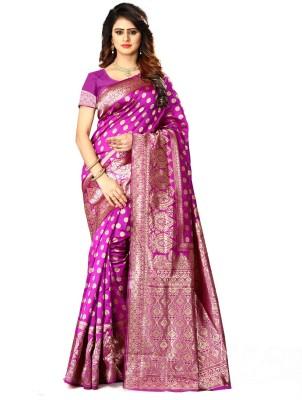Shoppershopee Self Design Bollywood Poly Silk Saree(Magenta)