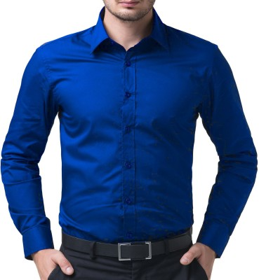 FabTag - Being Fab Men Solid Casual Blue Shirt