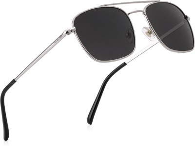 Royal Son Rectangular Sunglasses(Black, Silver)
