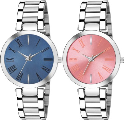 FOXTER Blue and Pink Pack of 2 Stainless Steel Stylish Girls Watches Analog Watch  - For Women