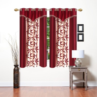 Ville Style 153 cm (5 ft) Polyester Window Curtain (Pack Of 2)(Floral, Maroon)