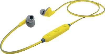 iBall Earwear Sporty Fluorescent Yellow Bluetooth Headset(Yellow, Grey, In the Ear)