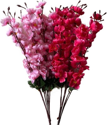 Ryme Combo Of Baby Pink And Dark Pink Orchids Flower Bunch For Home Decoration (Pack Of 2) Pink, Red Orchids Artificial Flower(20 inch, Pack of 2)