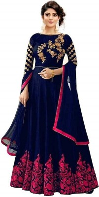 TIRTHU ENTERPRISE Cotton Silk Blend Embroidered Gown/Anarkali Kurta & Bottom Material(Semi Stitched)