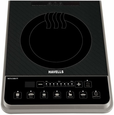 HAVELLS Induction Cooktop 1600 Watt Push button Induction Cooktop(Black, Touch Panel)