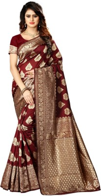 shoppershopee Self Design Kanjivaram Poly Silk Saree(Maroon)