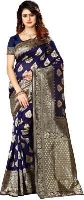 shoppershopee Self Design Kanjivaram Poly Silk Saree(Blue)